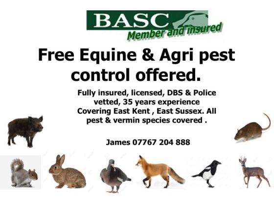 Free Equine & Agri Pest Control Offered East Kent & Sussex